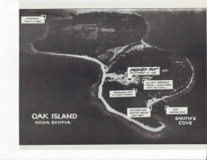 Areial view of Oak Island (1965) showing workings in the Money Pit area (right).