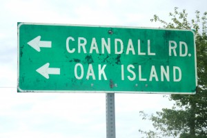 Sign pointing to Oak Island