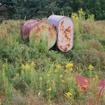 Old tanks from previous excavations of Oak Island