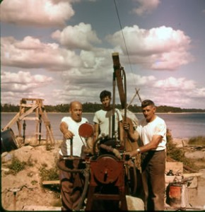 Fred Sparham (Dad's friend and first major investor) with Bobby and my Dad, drilling into the Vertical Shaft (spring 1961).