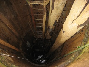 Looking down Borehole 10X, Oak Island